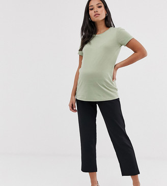 Asos DESIGN Maternity under the bump pull on tapered black pants in jersey crepe