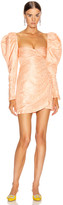 Alessandra Rich Moire Jacquard Mini Dress in Peach | FWRD