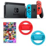 "Nintendo Neon Switch Bundle with 2 Joy-Con Wheels and ""Mario Kart 8 Deluxe"" Game"