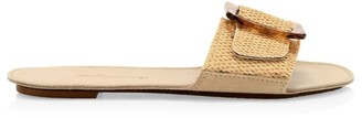 Definery Loop Raffia Flat Sandals