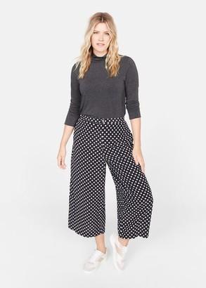 MANGO Violeta BY Polka-dot culottes trousers black - XS - Plus sizes