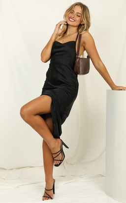 Showpo Cold Nights dress in black satin - 6 (XS) The Date Night Edit