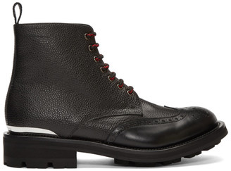 Alexander McQueen Black Pebble Grained Lace-Up Boots