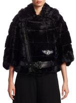 Noir Kei Ninomiya Faux Fur Moto Jacket