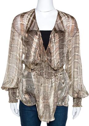 Roberto Cavalli Brown Snakekskin Print Silk Smocked Sheer Blouse L