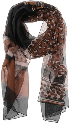 Innovare Made in Italy Mixed Leopard Print Chiffon Scarf