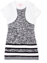 Pink Angel Black & White Twist Stripe Layered Dress - Infant Toddler & Girls