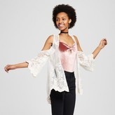 Born Famous Women's Lace Cold Shoulder Bell Sleeve Kimono - Born Famous (Juniors') Natural