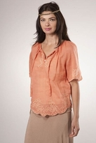 Joie Austin Embroidered Flutter Sleeve Top in Saffron