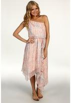 Jessica Simpson Print One Shoulder Asymmetrical Dress (Apricot) - Apparel