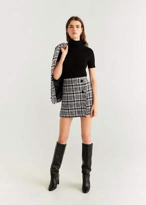 MANGO Tweed miniskirt black - 2 - Women