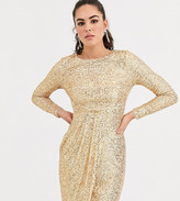 TFNC sequin midi wrap dress in gold