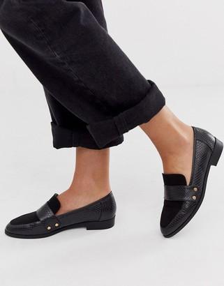 London Rebel loafer in black snake