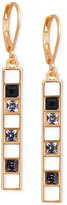 T Tahari Gold-Tone Scattered Crystal Linear Drop Earrings