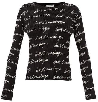Balenciaga Logo-print Ribbed-jersey Sweater - Black White