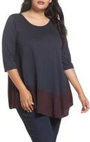 Three Dots Plus Size Women's Reversible Colorblock Top