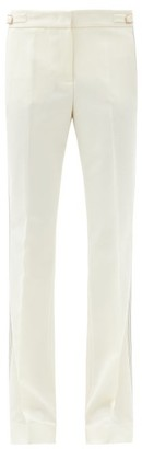 Gabriela Hearst Thompson Side-stitched Wool-crepe Flared Trousers - Ivory