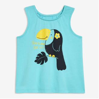 Joe Fresh Baby Girls' Graphic Tank, Turquoise (Size 6-12)