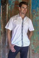 Hand Stamped Batik Accents on White Cotton Shirt For Men, 'Blue Waves'