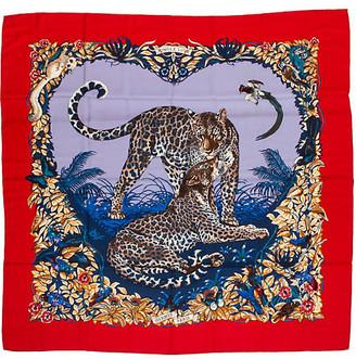 One Kings Lane Vintage Hermes Cashmere Jungle Love Shawl - Vintage Lux - Red/multi