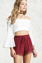 Forever 21 FOREVER 21+ Lace Embroidered Smocked Shorts
