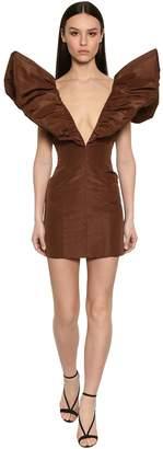 Laquan Smith Ruffled Silk Taffeta Mini Dress