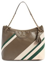 Tory Burch 'Fleming Stripe' Leather Tote - Grey