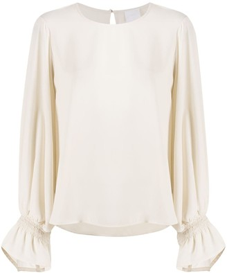 Merci Crew-Neck Puff-Sleeved Blouse
