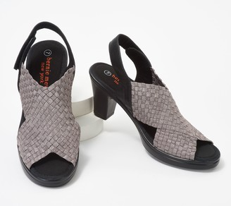 Bernie Mev. Basket Weave Heeled Sandals w/ Back-Strap - Beatrice