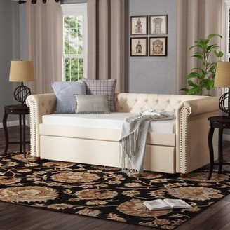 Three Posts New Britain Twin Daybed with Roll Out Trundle Color: Beige