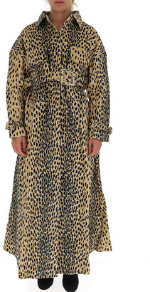 Jacquemus Leopard Print Belted Trench Coat