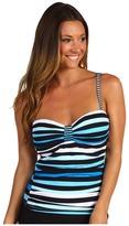 Tommy Bahama Bermuda's Lost Stripes Tankini w/ Center Tab (Peacock Blue Multi) - Apparel