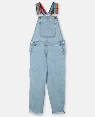 Stella McCartney rainbow logo tape denim dungarees