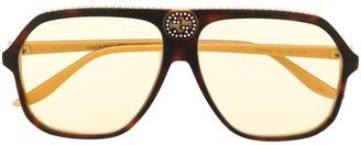 Gucci Retro Oversize-Frame Sunglasses