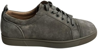 Christian Louboutin Louis junior spike Khaki Suede Trainers