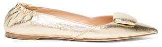 Rupert Sanderson Calin Point-toe Leather Flats - Gold