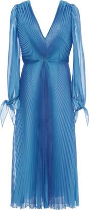 Luisa Beccaria Pleated Chiffon Midi Dress