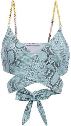 Stella McCartney Timeless Tie-front Snake-print Bikini Top