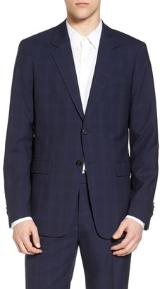 Theory Chambers Plaid Wool Trim Fit Suit Separates Sport Coat