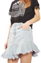Topshop Women's Moto Asymmetrical Hem Denim Skirt