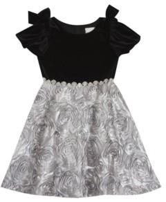 Rare Editions Little Girl Stretch Velvet Puff Sleevev Dress With Soutache Skirt