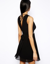 TFNC Halterneck Dress with Cut Out and Embellished Waistband