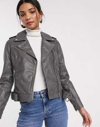 Barneys New York colored leather biker jacket in gray