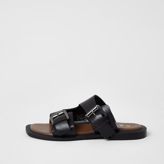 River Island Ravel black leather double buckle sandals