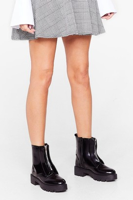 Nasty Gal Womens Zip to the Best Part Cleated Ankle Boots - Black - 3