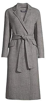 Max Mara Women's Scout Long Belted Wool Houndstooth Coat