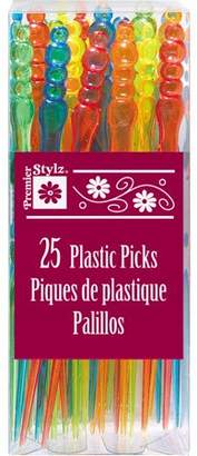 Unique Industries Plastic Cocktail Forks, 5 in, Assorted, 25ct