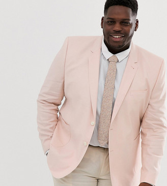 Asos Design DESIGN Plus wedding skinny blazer in pink linen