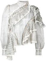 Zimmermann asymmetric frill blouse - women - Silk/Linen/Flax - 0