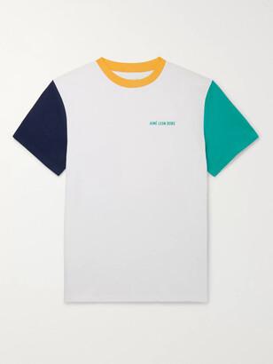 Aimé Leon Dore Logo-Embroidered Colour-Block Cotton-Jersey T-Shirt - Men - White
